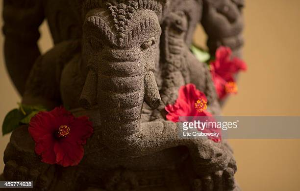 Statue of the Hindu divinity Ganesha also known as Ganapati and Vinayaka with hibiscus flower on November 02 in Jakarta Indonesia Ganesha is one of...