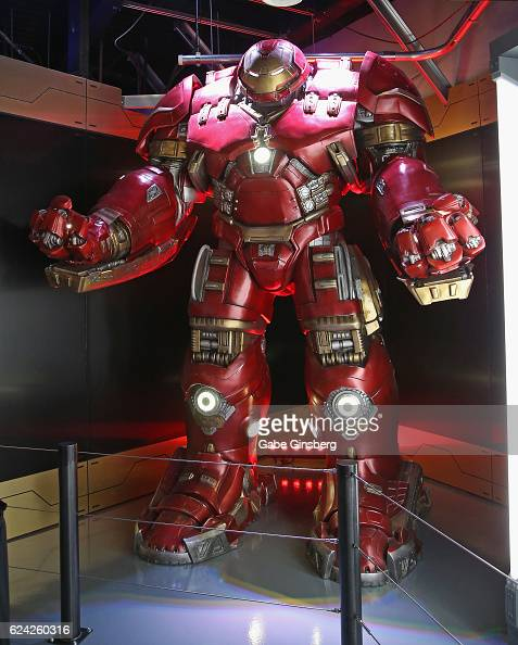 A statue of the Iron Man Hulkbuster suit on display at Marvel Avengers STATION at the Treasure Island Hotel Casino on November 18 2016 in Las Vegas...