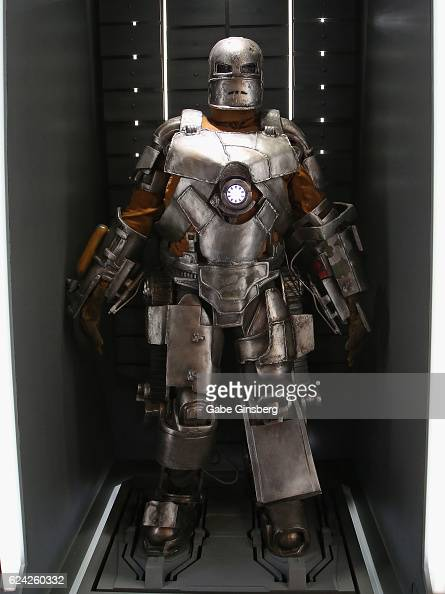 A statue of the Iron Man Mark 1 suit on display at Marvel Avengers STATION at the Treasure Island Hotel Casino on November 18 2016 in Las Vegas Nevada