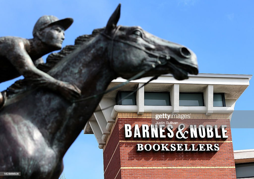 A statue of the racehorse Seabuiscut is displayed in front of a Barnes and Noble bookstore on February 28, 2013 in San Bruno, California. Bookseller Barnes & Noble reported a weak quarter and a 26 percent drop in sales of its Nook e-reader to post a 8.8 percent decline in revenue and a net loss of $6.1 million, or 18 cents a share, compared to a profit of $52 million, or 71 cents a share one year ago.