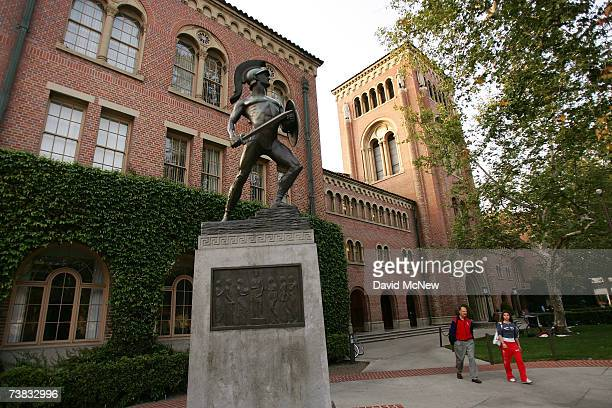 A statue of the school mascot the Trojan stands on the campus of the University of Southern California on March 6 2007 in Los Angeles California A...