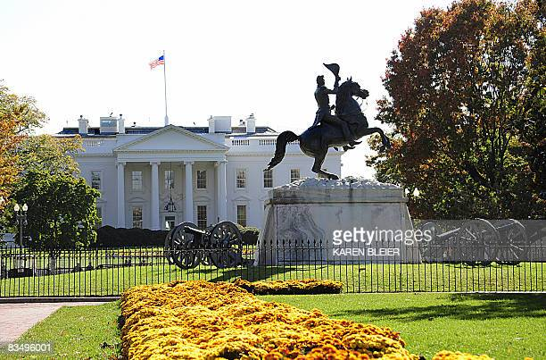 A statue of the seventh President of the US Andrew Jackson is seen in Lafayette Park across from the White House October 30 2008 in Washington DC...