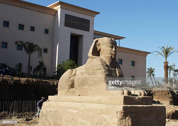 A statue of the Sphinx is seen at the excavation site of the ancient path that Egyptian worshippers and Roman provincials once trod as they crossed...