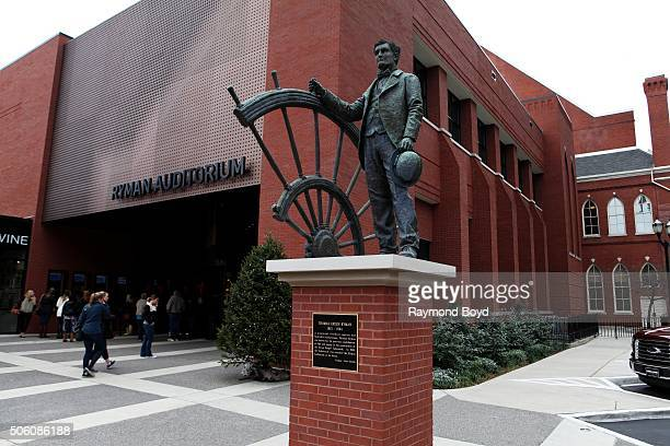 Statue of Thomas Ryman sits outside the Ryman Auditorium entrance on December 30 2015 in Nashville Tennessee