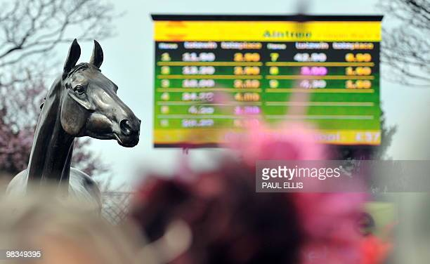 A statue of three times Grand National winner Red Rum is seen during the second day of the Grand National meeting at Aintree Racecourse in Liverpool...