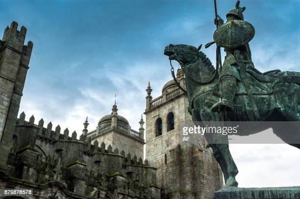Statue of Vimara Peres next to the cathedral of Porto, Portugal