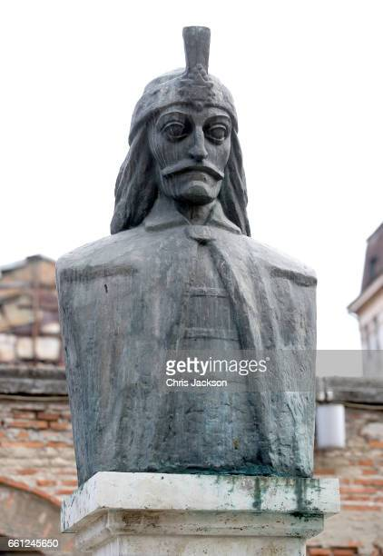 A statue of Vlad the Impaler ahead of a walking tour of the Old Town by Prince Charles Prince of Wales on the third day of his nine day European tour...