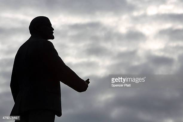 A statue of Vladimir Ilyich Lenin is seen on March 17 2014 in Simferopol Ukraine Voters on the autonomous Ukrainian peninsular of Crimea voted...