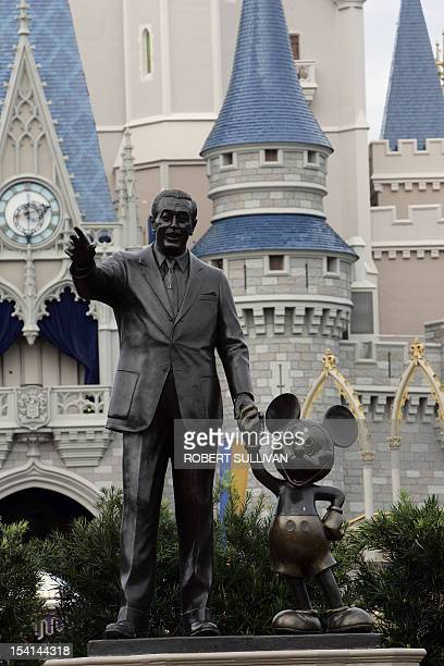 A statue of Walt Disney and Mickey Mouse stands in front of Cinderella's Castle at Walt Disney World 25 January 2007 in Lake Buena Vista Florida...