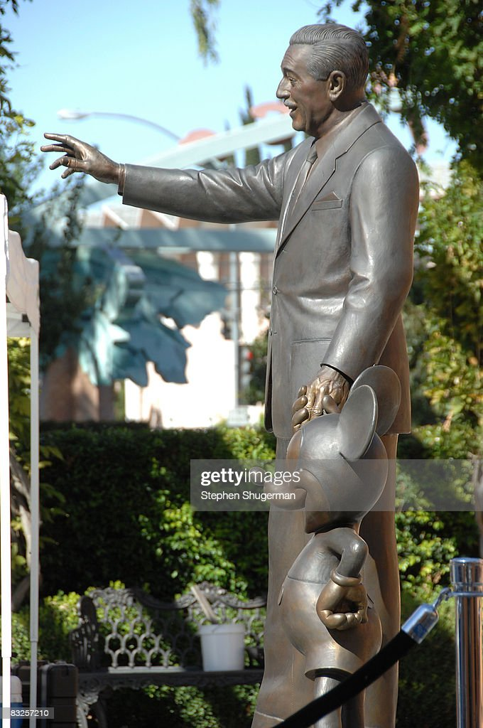 A statue of Walt Disney and Micky Mouse stand at the 2008 Disney Legends Ceremony at the Walt Disney Studios on October 13, 2008 in Burbank, California.