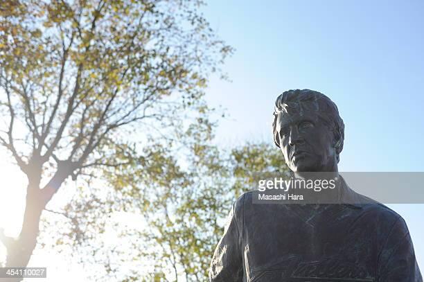 A statue of ZICOoutside of Kashima Stadium before the JLeague match between Kashima Antlers and Sanfrecce Hiroshima at Kashima Stadium on December 7...