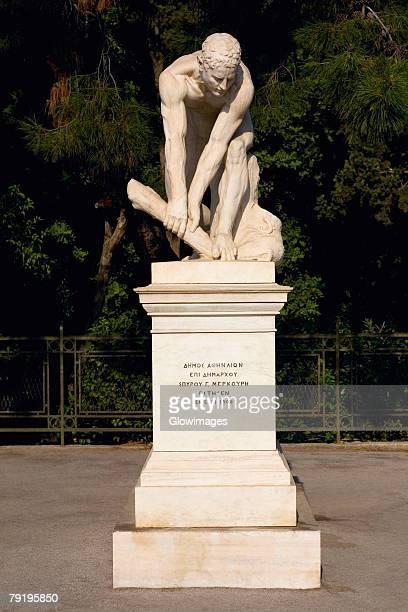 Statue on a pedestal, Athens, Greece