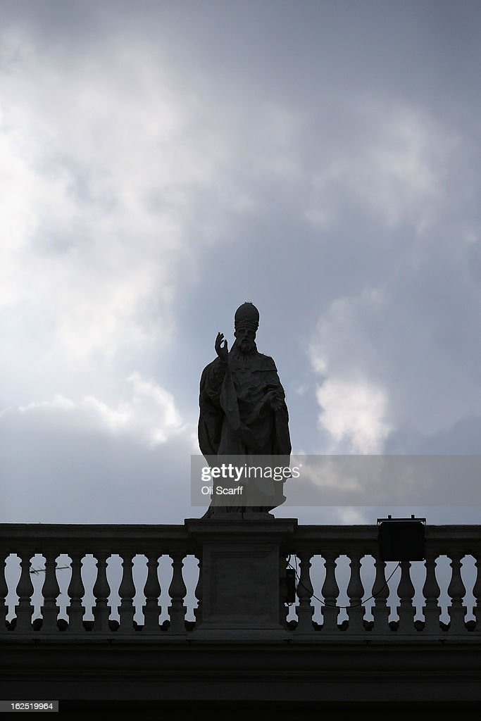 A statue on the colonnade in Saint Peter's Square on February 24, 2013 in Vatican City, Vatican. The Pontiff will hold his last weekly public audience on February 27, 2013 before he retires the following day. Pope Benedict XVI has been the leader of the Catholic Church for eight years and is the first Pope to retire since 1415. He cites ailing health as his reason for retirement and will spend the rest of his life in solitude away from public engagements.