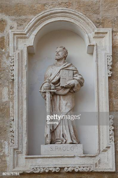 Statue on the facade of the Brindidi basilicacathedral St Paul Brindisi Italy
