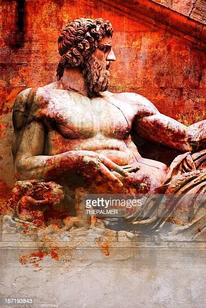 statue orange stained