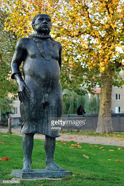 Statue The Stroppendrager of artist Chris De Mangel at the Prinsenhof / prince's court in Ghent Belgium