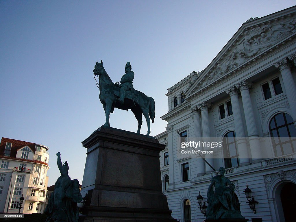 A statue to Kaiser Wilhelm I by sculptor Gustav Eberlein standing outside the town hall in the Altona district of Hamburg The city with a population...