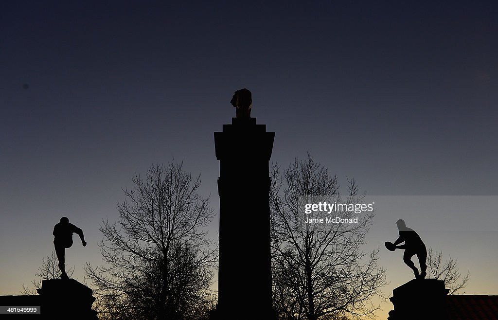 Statues are pictured outside Twickenham stadium during an England squad announcement at Twickenham stadium on January 9, 2014 in London, England.