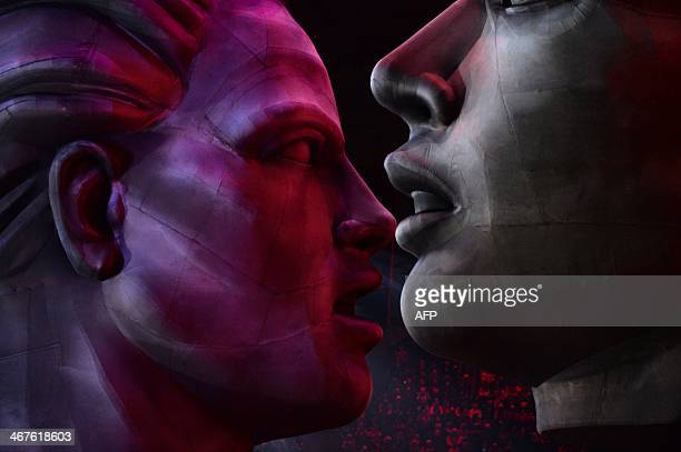 Statues are raised during the Opening Ceremony of the Sochi Winter Olympics at the Fisht Olympic Stadium on February 7 2014 in Sochi AFP PHOTO /...