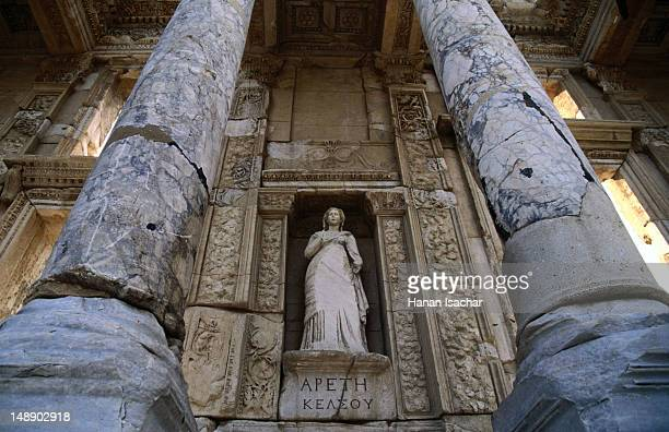 Statues fill the niches on the facade of the Library of Celsus.