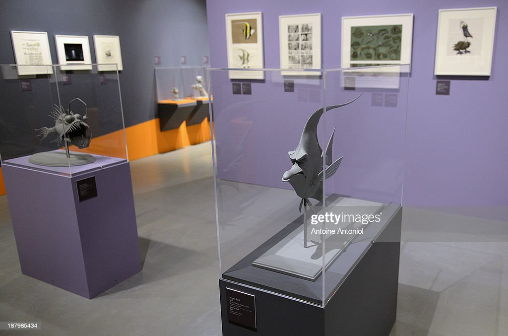 Statues of characters Gill and Anglerfish from the film Finding Nemo sit on display at 'Pixar, 25 years of Animation' exhibition on November 14, 2013 in Paris, France. The Art Ludique Museum will open its doors on November 16 with the Pixar exhibition.