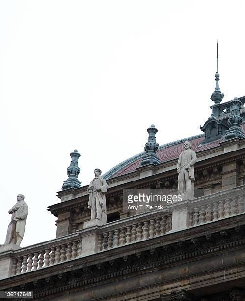Statues of classical composers on the Hungarian State Opera House in Budapest Hungary 10th December 2011 The neoRenaissance building was designed by...