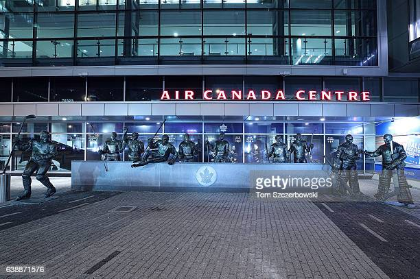 Statues of Mats Sundin of the Toronto Maple Leafs and Tim Horton and Borje Salming and Darryl Sittler and Ted Kennedy and Syl Apps and Dave Keon and...