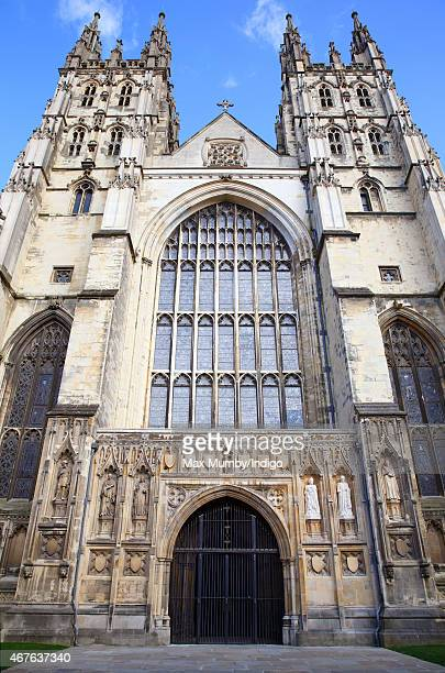 Statues of Prince Albert and Queen Victoria and Queen Elizabeth II and Prince Philip Duke of Edinburgh by the Great West Door of Canterbury Cathedral...