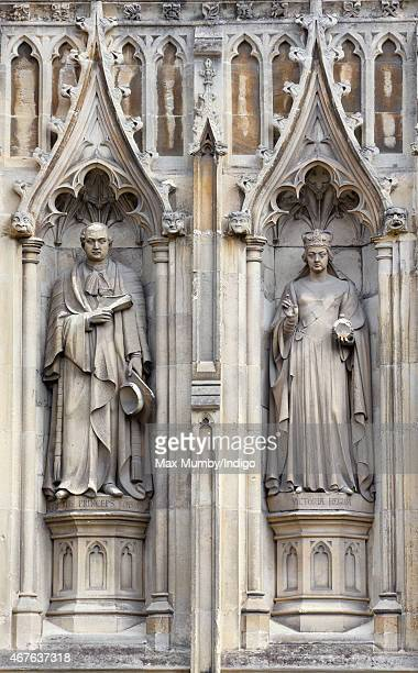 Statues of Prince Albert and Queen Victoria by the Great West Door of Canterbury Cathedral on March 26 2015 in Canterbury England