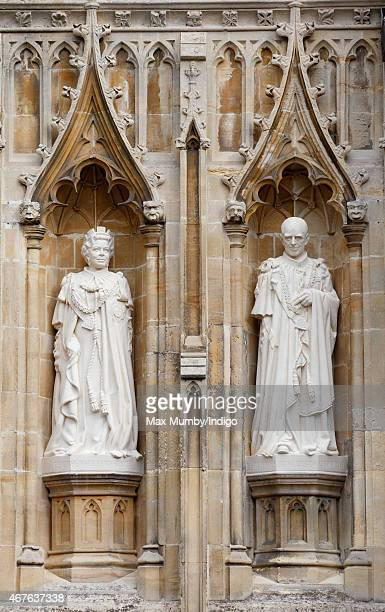 Statues of Queen Elizabeth II and Prince Philip Duke of Edinburgh by the Great West Door of Canterbury Cathedral which The Queen unveiled during a...