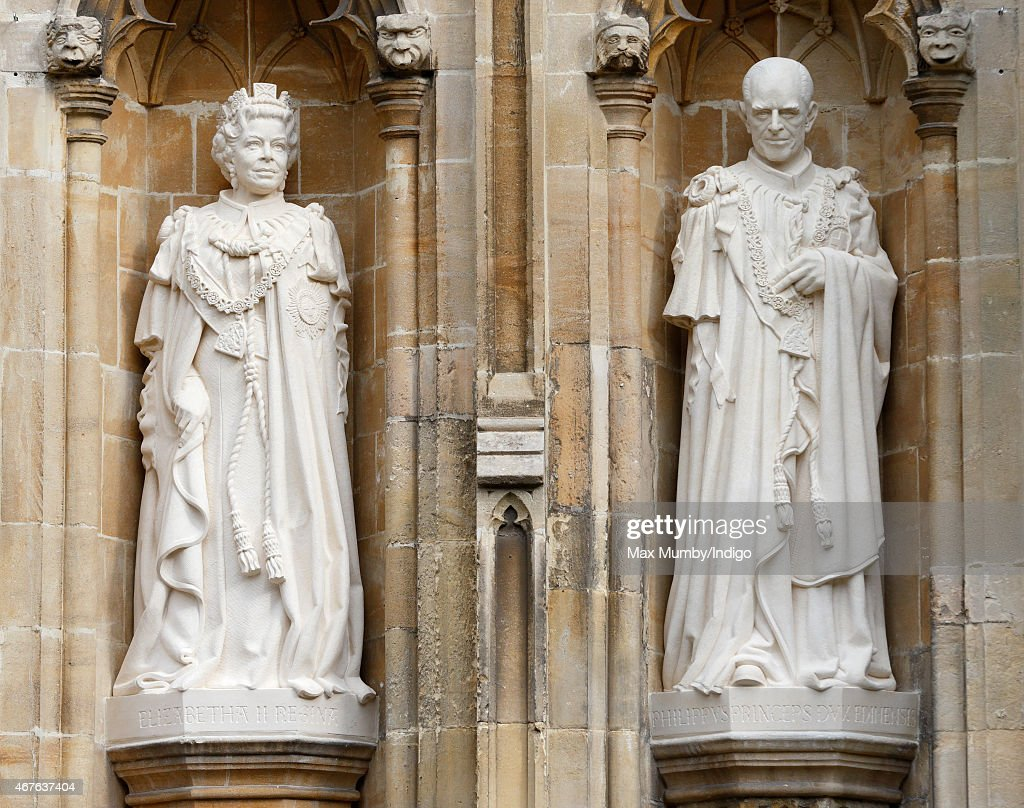 Statues of Queen Elizabeth II and Prince Philip, Duke of Edinburgh by the Great West Door of Canterbury Cathedral which The Queen unveiled during a visit on March 26, 2015 in Canterbury, England.