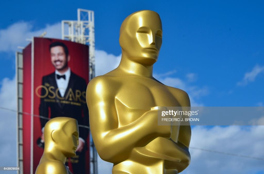 Statues of the Oscar are seen in a Hollywood back lot for touching up by scenic artists on February 22, 2017 in Hollywood, California amid ongoing preparations for the 89th Academy Awards, or the Oscars, to be held on Sunday, February 26, 2017. J. BROWN