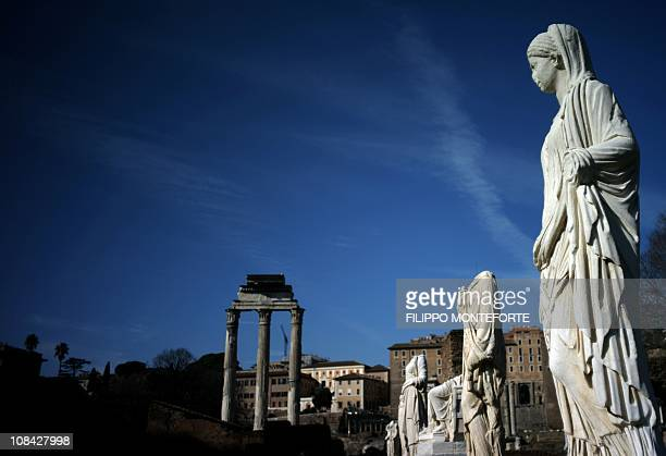 Statues of vestals are displayed at the House of the Vestal virgins during the inauguration of a new itinerary going from Via Nova to the Roman Forum...