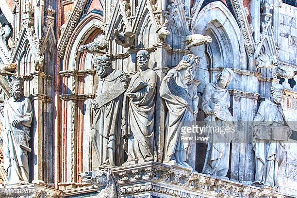 Statues on the facade of the Siena Cathedral
