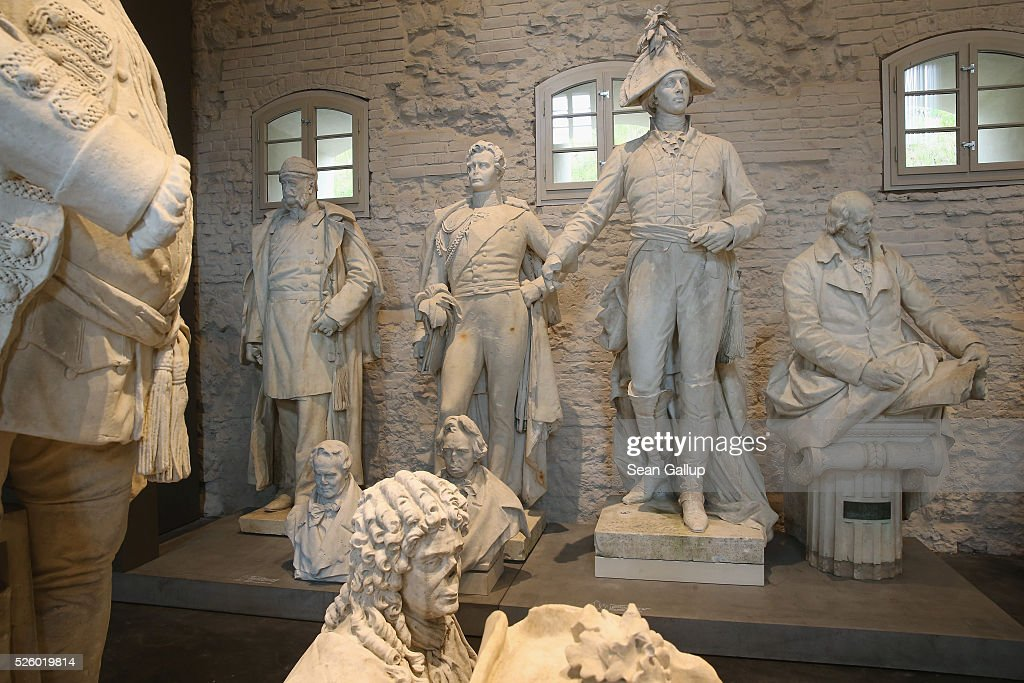 Statues that once stood at locations across the city stand on display at the exhibition: 'Uncovered. Berlin and its Monuments' ('Enthuellt. Berlin und seine Denkmaeler') at the Spandau citadel on April 29, 2016 in Berlin, Germany. The statue of Lenin was over 19 meters tall and stood on Lenin Square in communist East Berlin before being removed by authorities after 1989, broken up into pieces and buried in a forest outside Berlin. The exhibition shows about 100 monuments that have been damaged, removed or stored away over the years and together guide visitors through the history of th city. The exhibition will run until October 30.