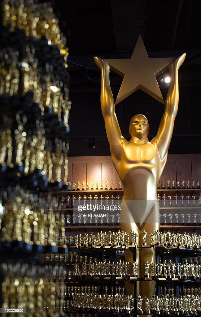 Statuettes of Oscars are ready for visitors and tourists at local souvenir shop prior to the 85th Academy Awards in Hollywood, California, on February 20, 2013. The Oscar ceremony is scheduled for February 24, 2013.