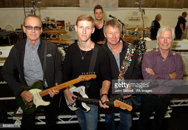 Status Quo band members Francis Rossi Freddie Edwards Leon Cave Rhino Edwards and Andrew Bown rehearse at Shepperton Studios in Middlesex ahead of...