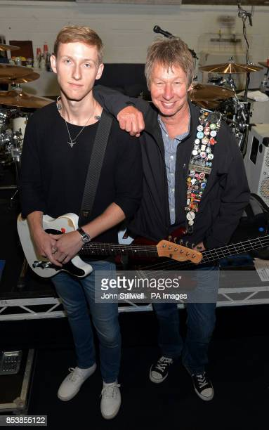 Status Quo band members Freddie Edwards with his father Rhino Edwards rehearse at Shepperton Studios in Middlesex ahead of their UK tour as Freddie...