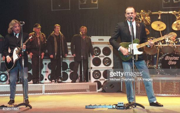 Status Quo's Rick Parfitt and Francis Rossi are joined on stage by the Beach Boys to launch the Status Quo 30th anniversary album 'Don't Stop' which...