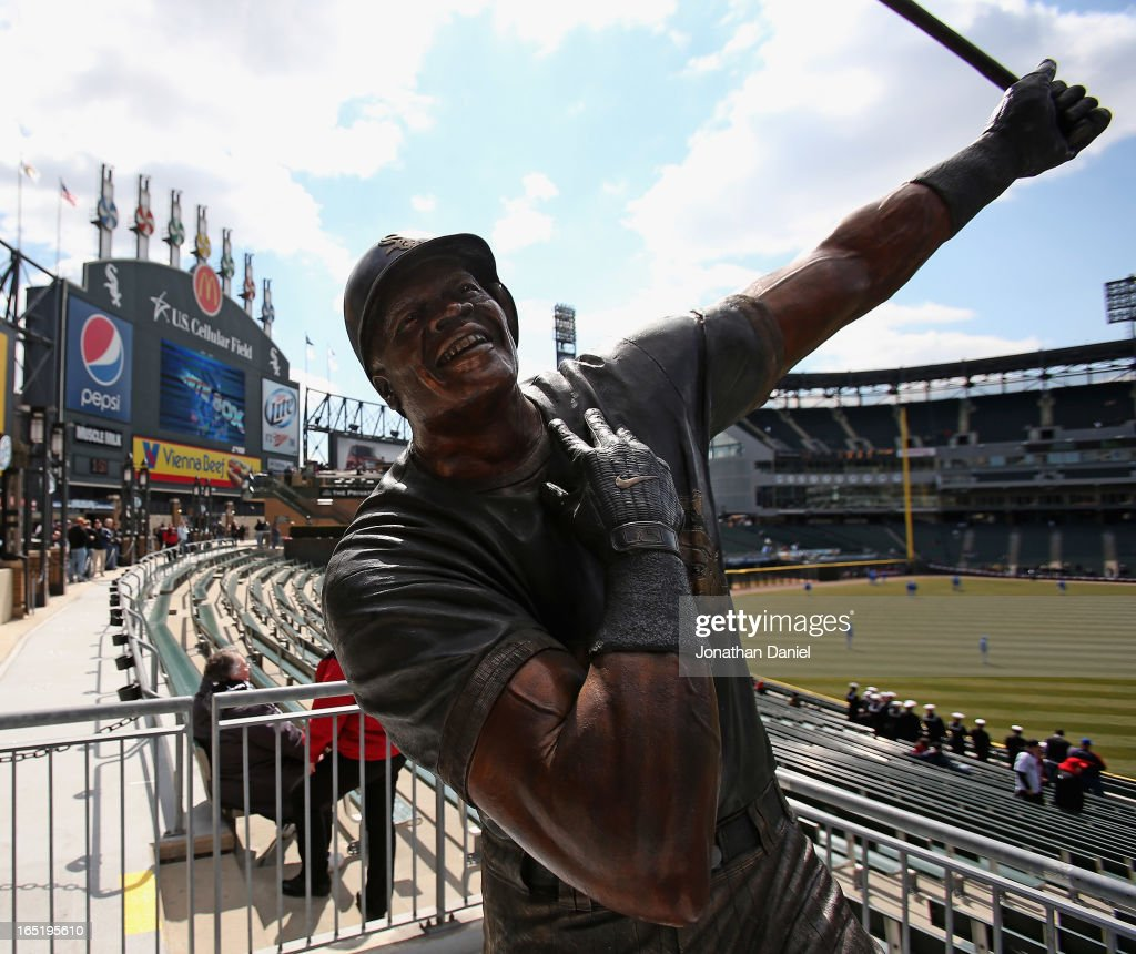 A staue of former player Frank Thomas of the Chicago White Sox is seen in left field before the Opening Day game between the White Sox and the Kansas City Royals during the Opening Day game at U.S. Cellular Field on April 1, 2013 in Chicago, Illinois.