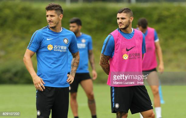 Stavan Jovetic and Mauro Emanuel Icardi look on during the FC Internazionale training session at the club's training ground Suning Training Center in...