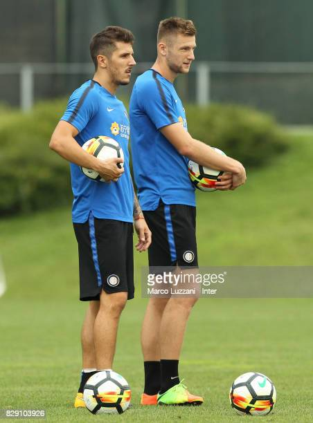 Stavan Jovetic and Milan Skriniar of FC Internazionale look on during the FC Internazionale training session at the club's training ground Suning...