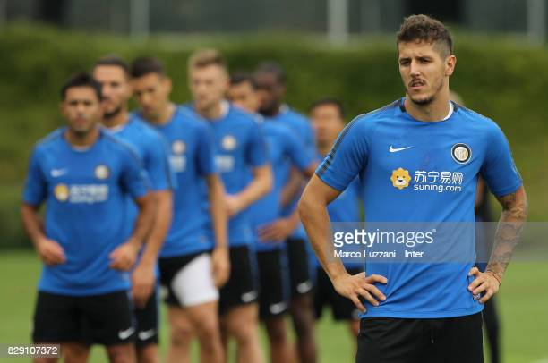 Stavan Jovetic of FC Internazionale looks on during the FC Internazionale training session at the club's training ground Suning Training Center in...