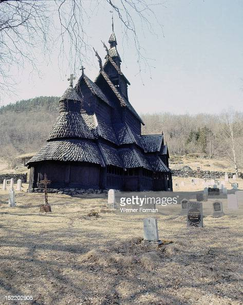 Stave church at Fagusnes Borgund The stave churches are widely believed to have been modelled on pagan temples Date/Period 1150 AD Culture Viking...