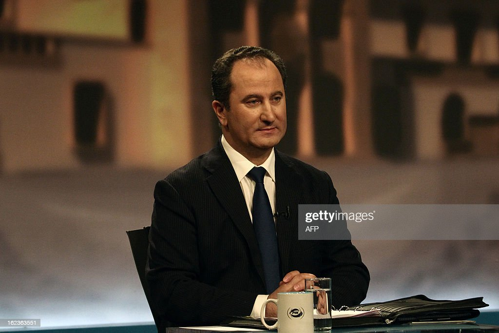 Stavros Malas, one of the two remaining candidates in the Cypriot presidential election, attends the last televised political debate in Nicosia, on February 22, 2013 ahead of the scheduled elections on February 24.