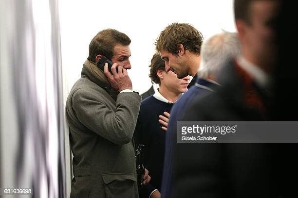 Stavros Niarchos III and his brother Theo Niarchos and Vito Schnabel during the 'Jeff Elrod Figment' exhibition at Vito Schnabel Gallery on December...