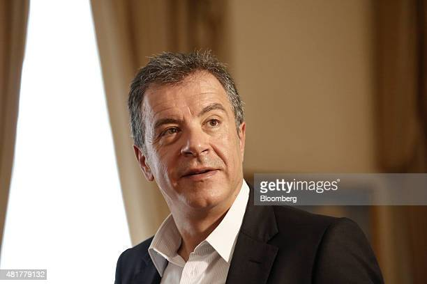 Stavros Theodorakis leader of the To Potami party arrives at the presidential palace to attend a meeting with the Greek president and leaders of...