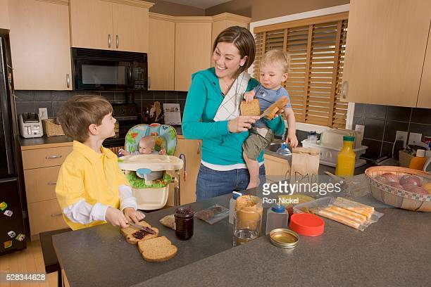Stay at home mom with her kids