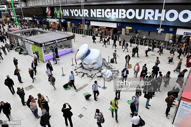 Stay Puft Marshmallow Man is seen on the concourse at Waterloo Station on July 11 2016 in London England Ghostbusters take over Waterloo Station as...