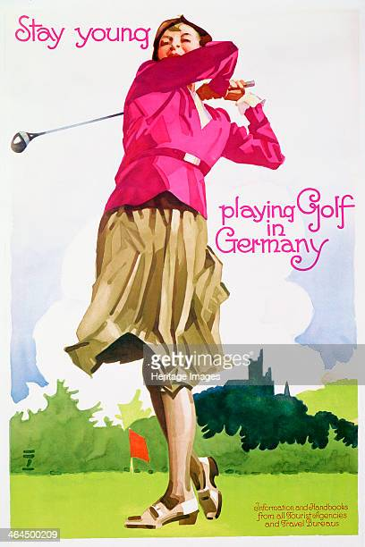 Stay young playing golf in Germany railway poster c1930